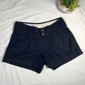 Elevenses Anthro 0 Navy Blue Linen Pin Tuck Shorts